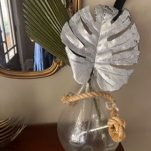 Anthropologie Faux Silver Monstera Stem